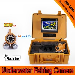 20m Depth Underwater Fishing Camera Kit with Dual Lead Bar & 7Inch Color TFT LCD Monitor & Yellow Hard Plastics Case