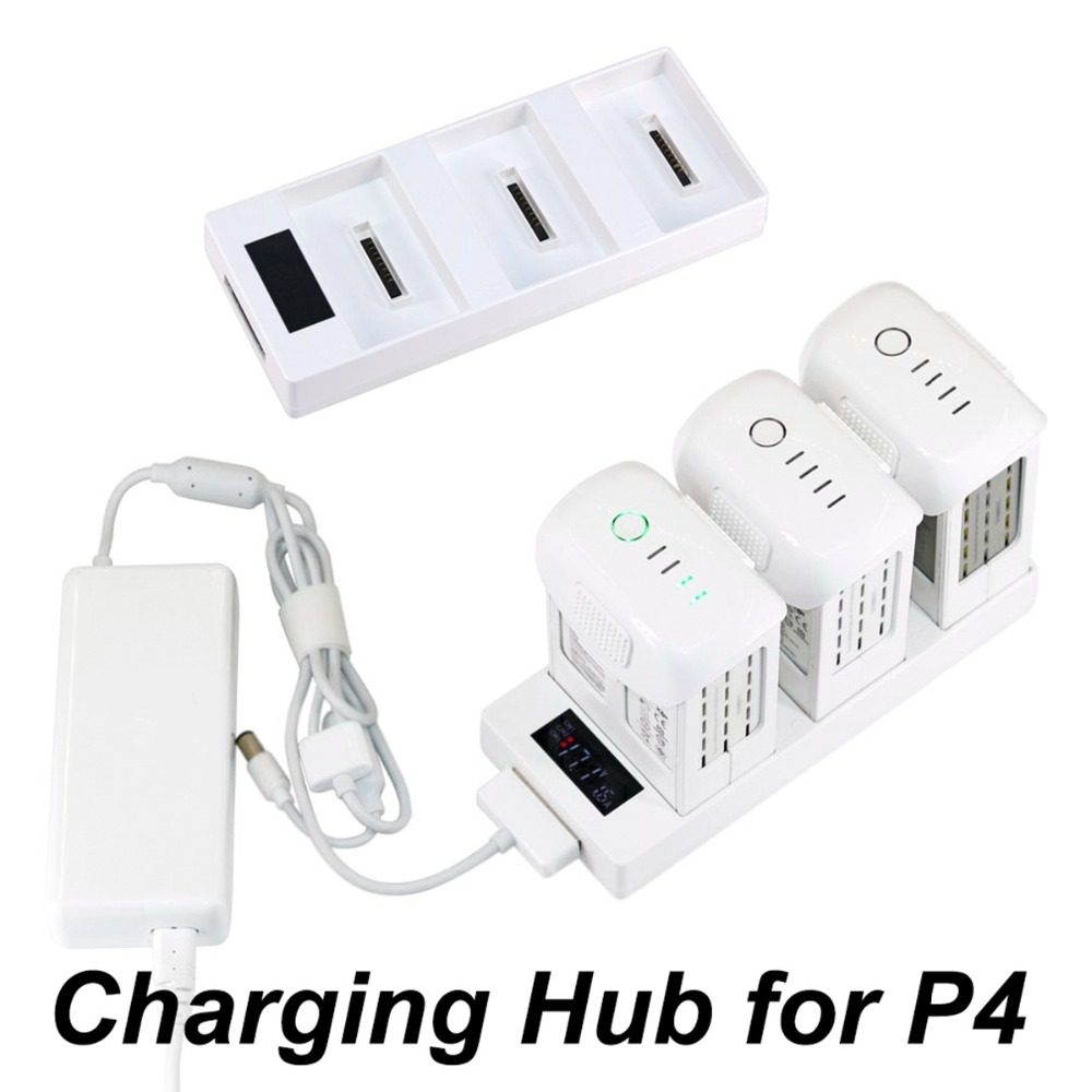 3 IN 1 Battery Charger Parallel Charging Hub Charging Board With Digital Display for DJI Phantom 4 Pro Advanced 4A 4P Drone Part 3 in 1 portable car charger for dji phantom 4 pro 4a advanced camera drone for battery remote controller 12v vehicle charger