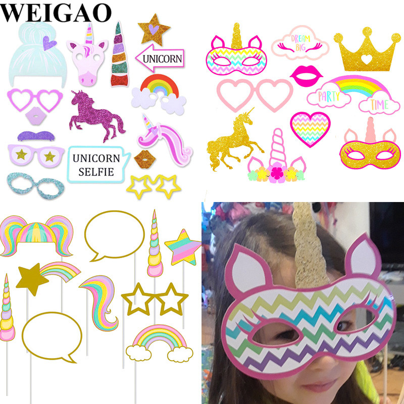 WEIGAO Cute Rainbow Unicorn Photo Props Booth Prop Kids Birthday Party Decor Photobooth 1st Girl Gift