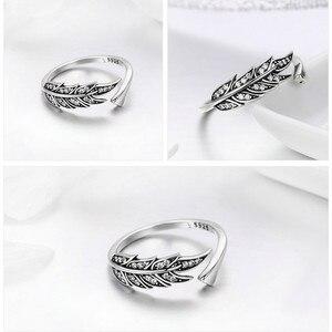 Image 5 - 華やかな葉 925 スターリングシルバー調節可能なリング女性のファッションジュエリーバレンタインデーのギフト