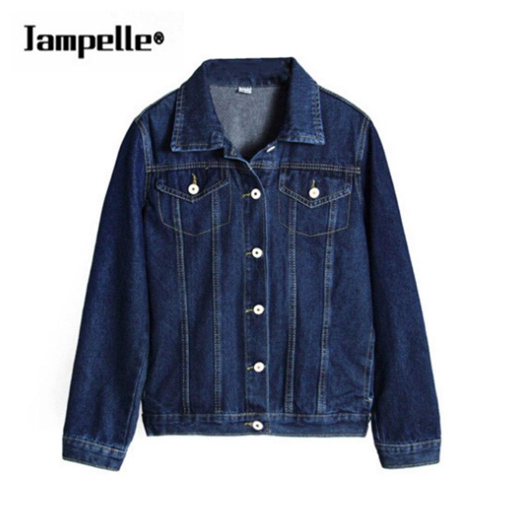 Jampelle Jeans   Jacket   Women Casacos Feminino Slim hot fashion BF Style Denim   Jacket   Lady Elegant Vintage   Jackets   2017   Basic   Coat