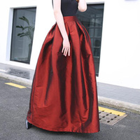 Vintage High Waist Long Skirts for Women Elegant Black Wine Red Floor Length Evening Party Skirts Ball Gown Pleated Maxi Skirt