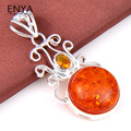 ENYA Best Xmas Gift 1 Pcs Exotic Women Jewelry Necklace Pendants Classic Synthetic Amber Gems Pendants Bijoux P0184