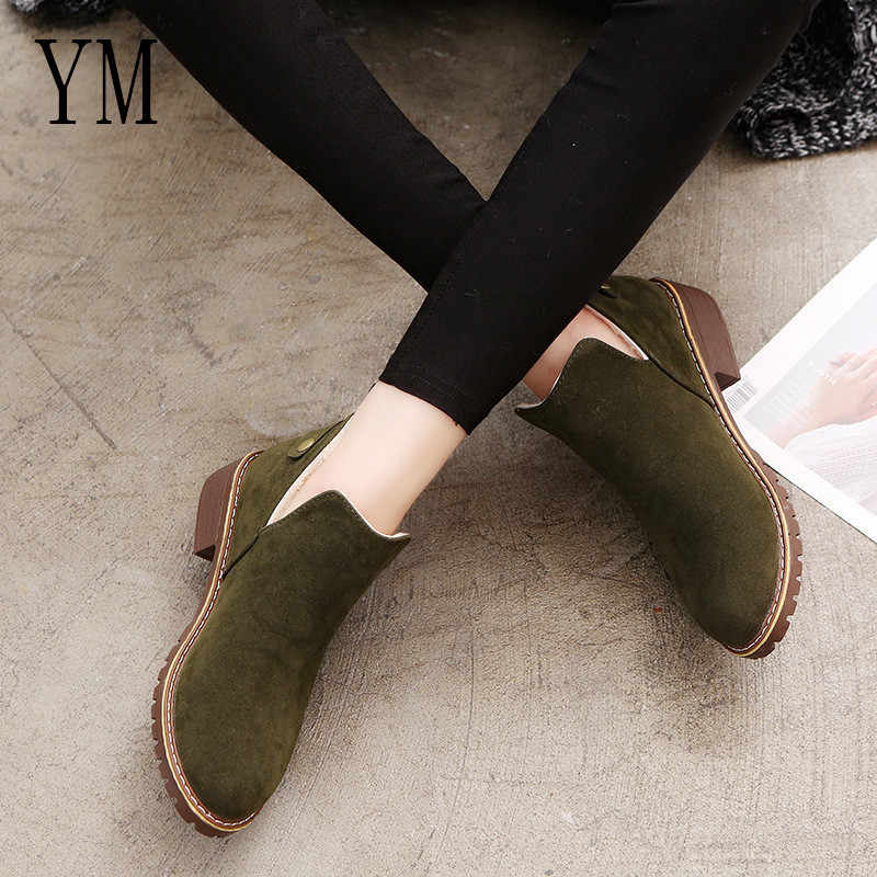 c325eb4626a284 ... 018 Basic Booties shoes Women Shoes Fur Boots Winter Female Rubber  Chelsea Boots Hot Sale Brown ...
