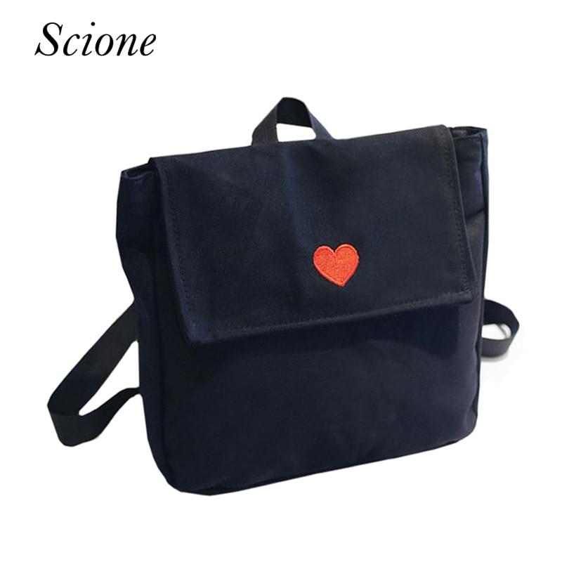 купить New Heart Moon Embroidery Backpack Harajuku Women Shoulder Bag Book School Bags for Teenage Girls Travel Bag Pack Mochila 131581 недорого