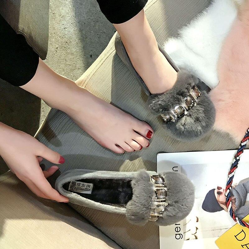 Dames Black Fourrure Mocassin Appartements Peluche 44 Chaîne Designer 43 brown Nouveau Gamme Chaussures En Strass 42 Haut Grande gray Taille Hiver De C100 Femme Lapin qO6nXRBw
