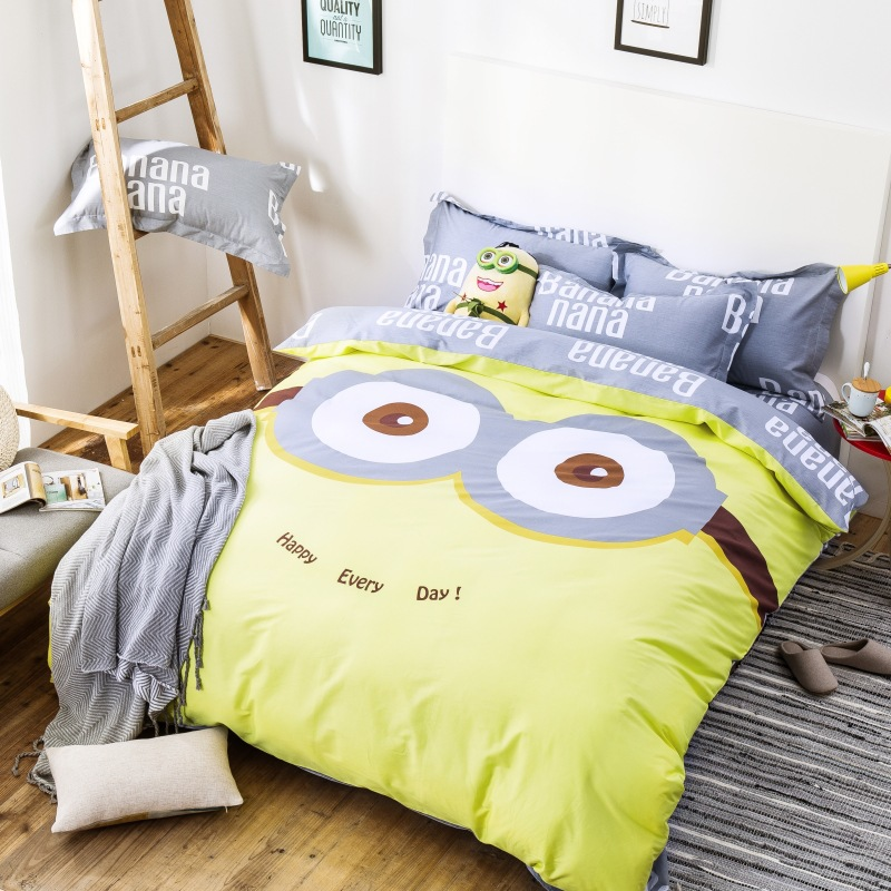 Bedding set children adult cartoon twin full queen size 3 4pcs cotton pillow bed line quilt set for Full size bedroom sets for adults