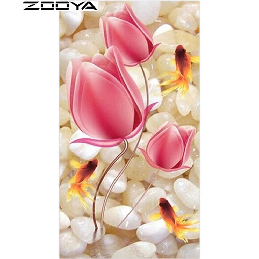 ZOOYA Heißer Verkauf DIY Hand Diamant Malerei Fantasie Blumen Stickerei Perlen Kristall Hand Mosaik Handwerk AT1577