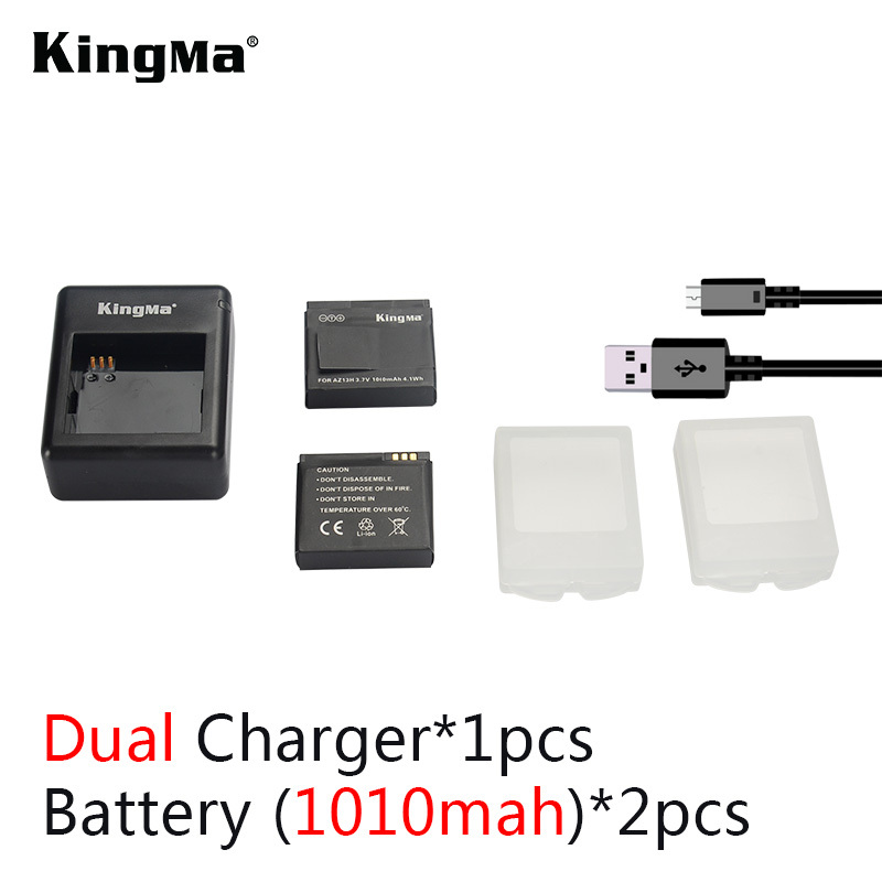 KingMa Xiaomi yi battery 2PCS 1010mAh xiaoyi battery + xiao yi battery charger For xiaomi yi action camera xiaomi yi accessories