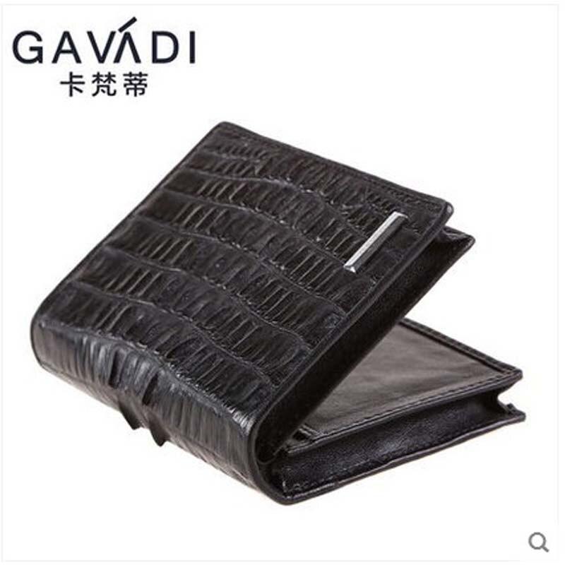 kafandi Authentic crocodile leather men wallet black counter genuine crocodile leather pick-bag two-fold men purse short style