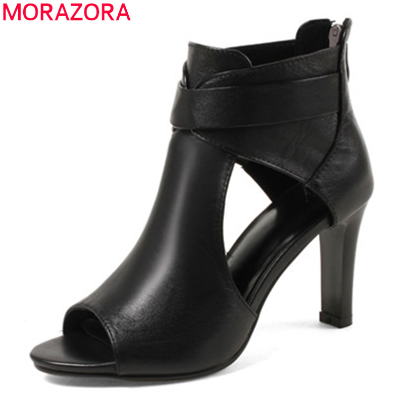 MORAZORA 2019 new arrival genuine leather boots women ankle boots peep toe summer boots zip gladiator