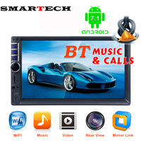 SMARTECH 7 2 DIN Touch Screen Car Multimedia Player Android 7 1 Auto MP5 Player Bluetooth