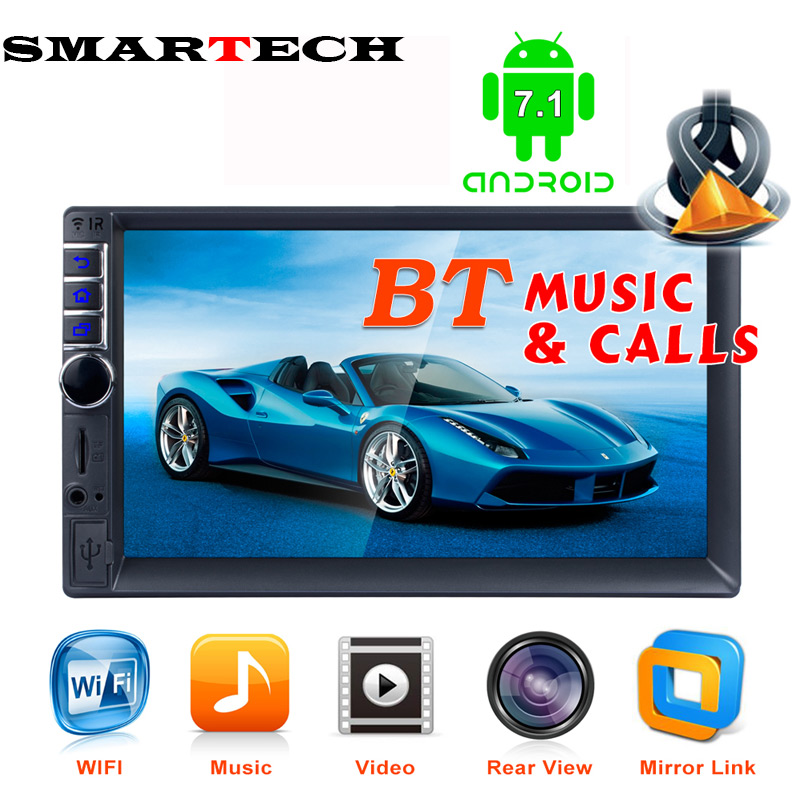 SMARTECH 7 2 DIN Touch Screen Car Multimedia Player Android 7.1 Auto MP5 Player Bluetooth Car GPS Navigator With Camera 1G+16G 7 touch screen 2 din quad core car radio android 7 1 wifi bluetooth auto mp5 player gps navigator autoradio with reverse camera