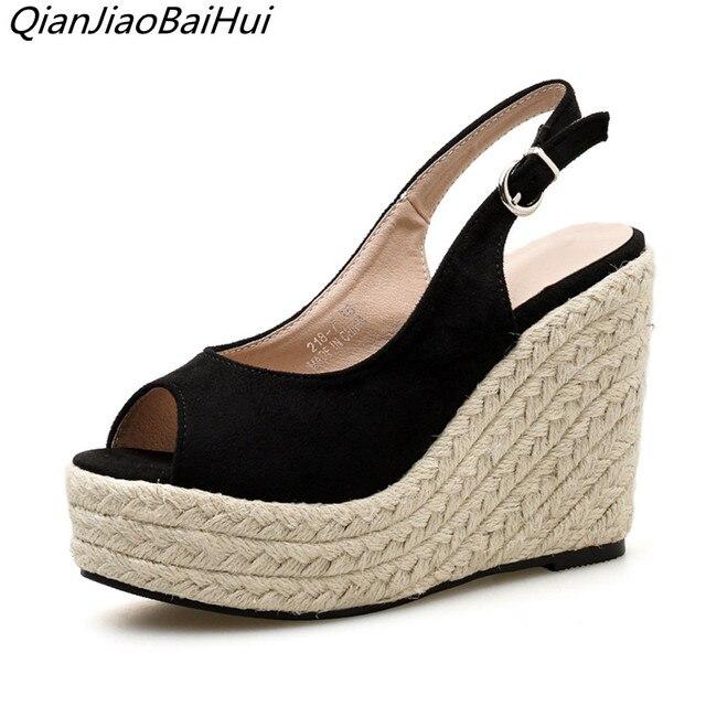 ebc14d90b QianJiaoBaiHui Straw Hemp Rope Wedges Sandals Women Platform Peep Toe  Sandals High Heels Fashion Ladies Casual Wedge Shoes Black