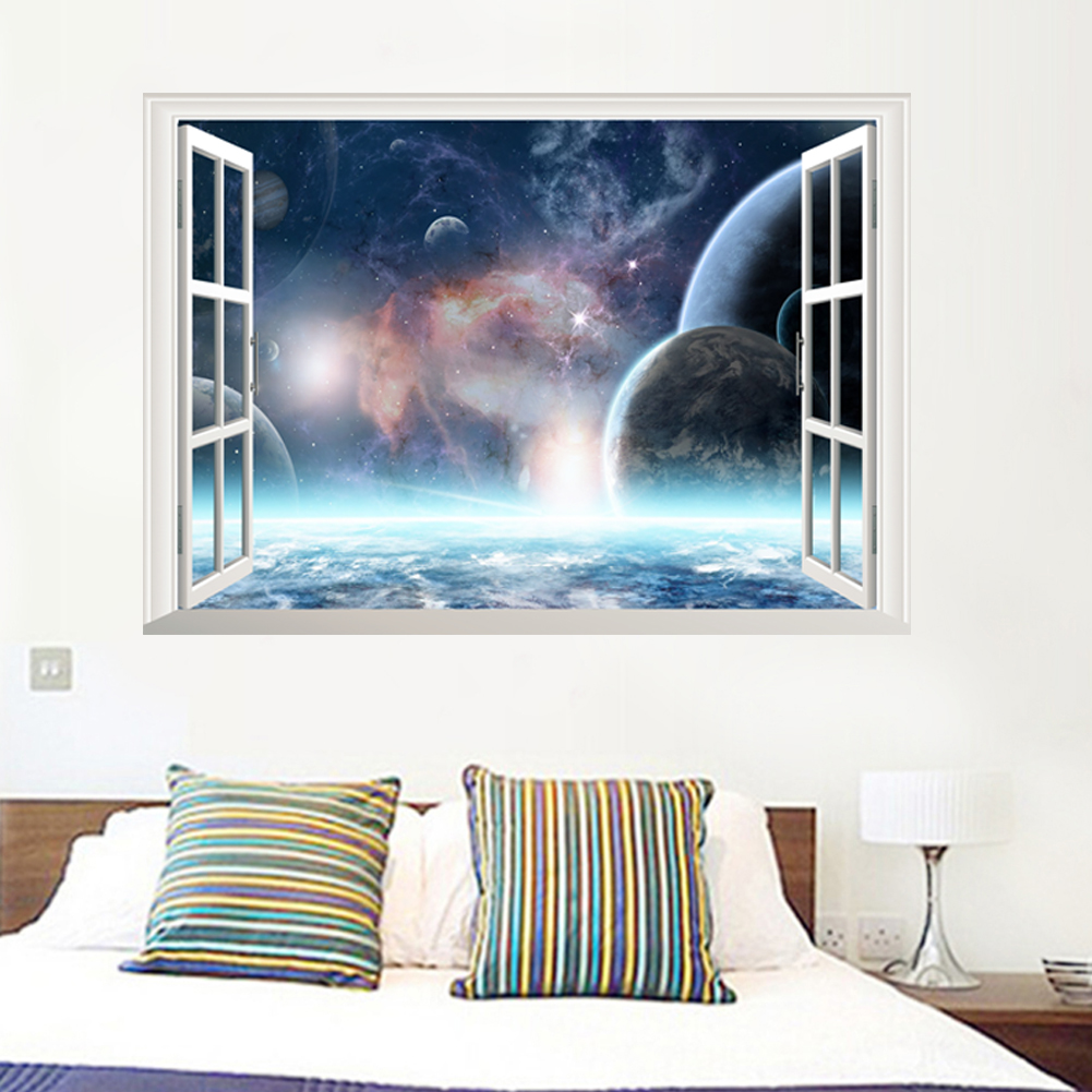 Outer Space Planets 3d Windows Broken Hole Wall Stickers Cosmic Wall Decals For Kids Room Baby Bedroom Ceiling Floor Decoration Wall Stickers Aliexpress