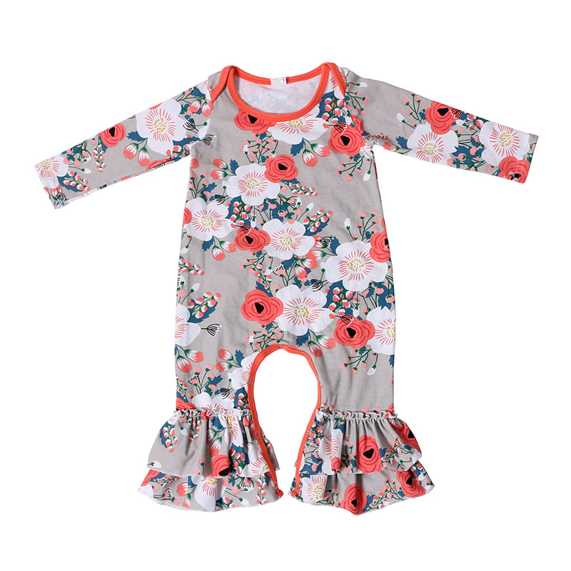 Fashion Cute Baby Girls Flowers Long Sleeve Romper Infant Lace Jumpsuit Clothes Sunsuit Outfits