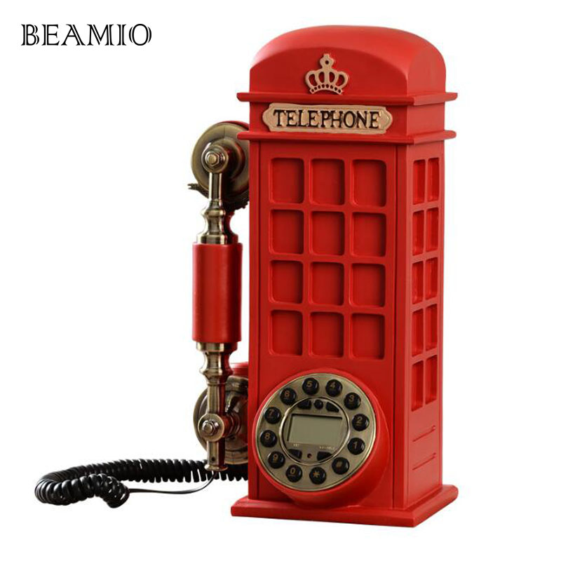 Beamio European Style Antique Phone Booths Landline Phone With Call ID Home Telephone Without Battery For Home Office Red