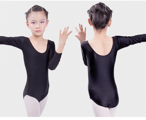 Image 3 - Гимнастическое трико с длинным рукавом, Детские балетные трико для девочек, танцевальный боди, боди, эластичный купальник из спандекса для танцев