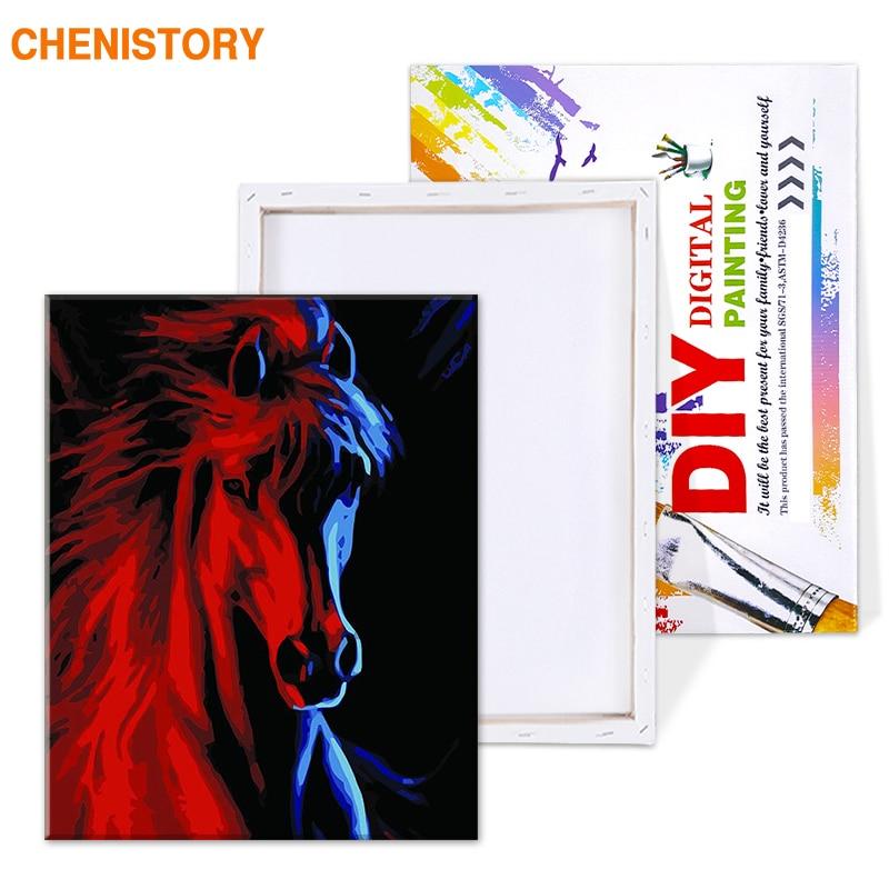 Chenistory животные Красный Бег Лошади diy масло Набор для рисования