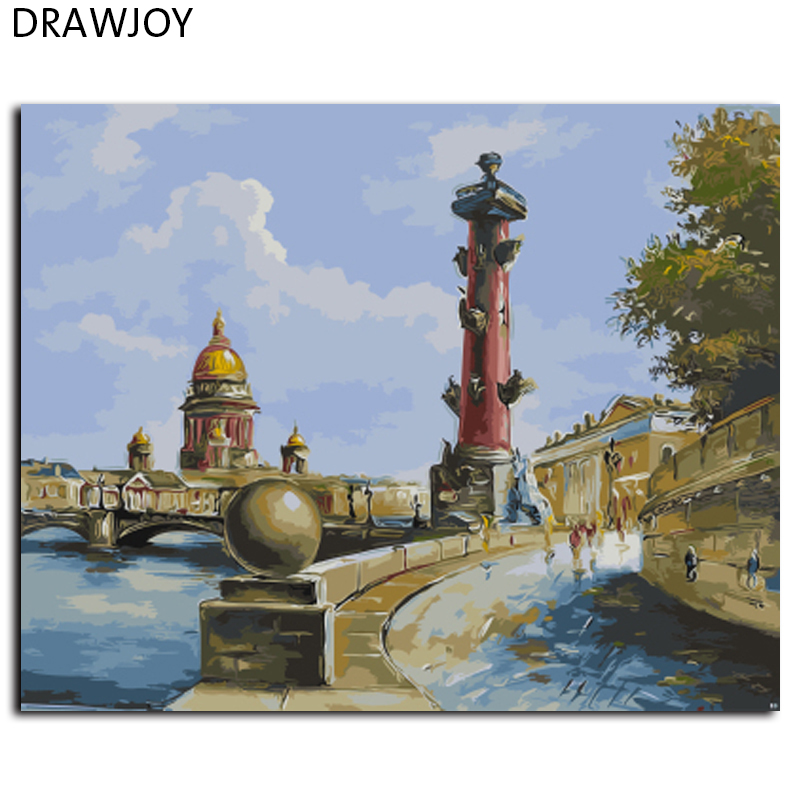 DRAWJOY Incorniciato Paesaggio Pittura e Calligrafia Pittura di DIY Dai Numeri Acrilico Dipinti Su Tela Home Decor GX9616 40*50 cm