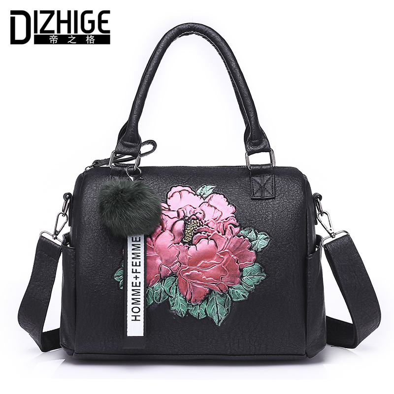 DIZHIGE Brand Print Floral Women Leather Handbags Designer Shoulder Bags Famous Fur Ball Women Bags Tote New Ladies Hand Bag Sac new black blue wine red famous designer brand bags women genuine leather handbags tote bag pochette ladies hand bags for woman