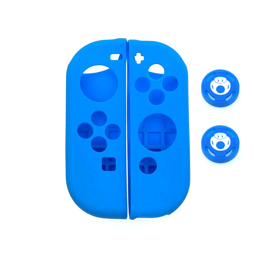 Image 4 - 1 set Soft Silicone Protective Skin Case + 2pcs Controller Grips Joystick Caps Cover for Nintend Switch NS Joy Con Controller-in Cases from Consumer Electronics