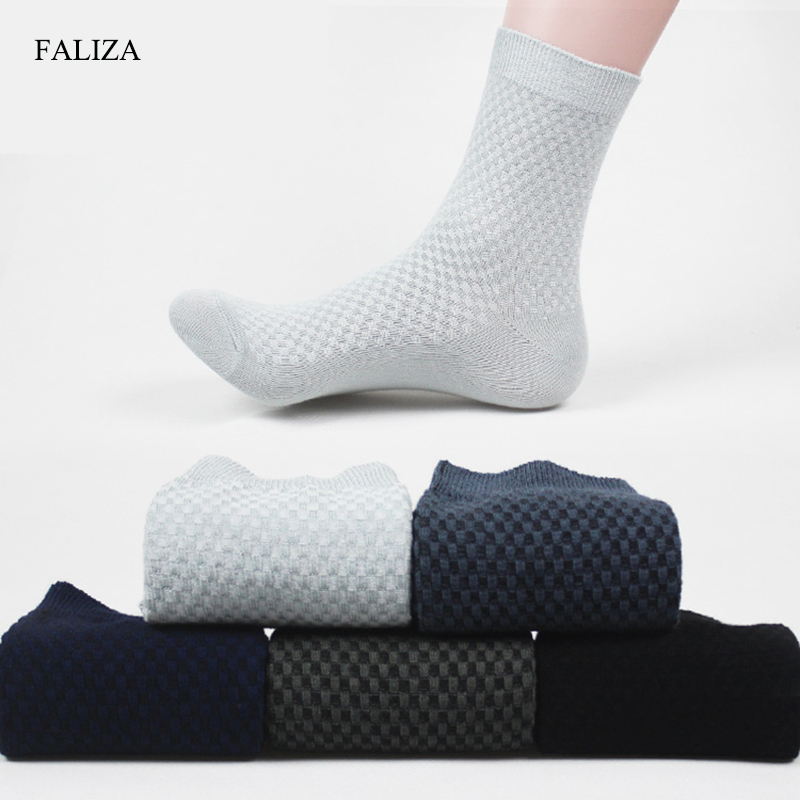 FALIZA High Quality Men Socks Cotton & Bamboo Fiber Classic Business Mens Socks Deodorant Dress Socks Winter Warm Socks 5pair B