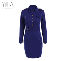 Yilia 2016 New Women Autumn Work Dress Navy Blue Flap Pockets Decorative Buttons Long Sleeve Bodycon