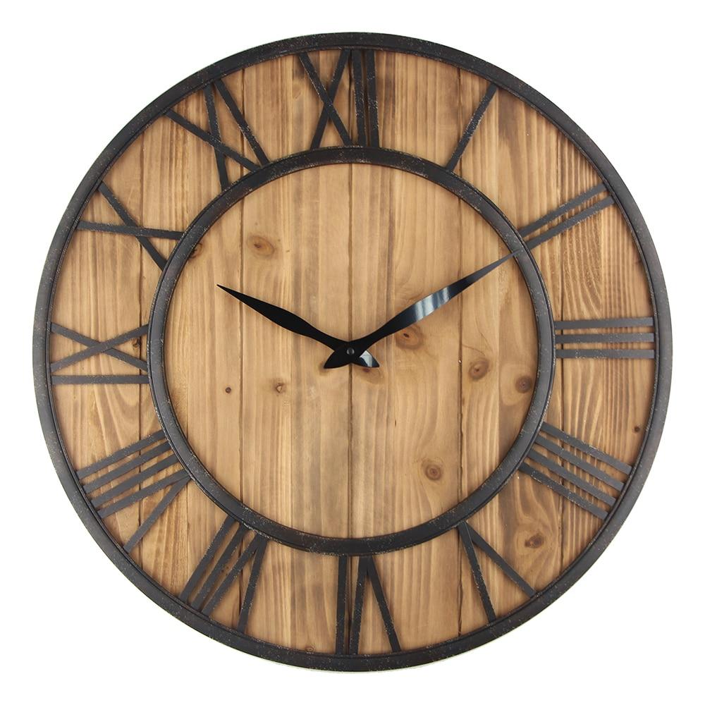 60cm Grosse Wanduhr Vintage Design Uhr Schmiedeeisen Metall Holz