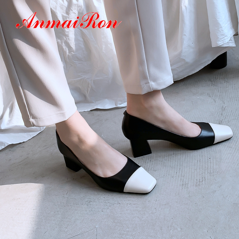 AnmaiRon 2019 New Arrival Genuine Leather Basic High Heel Pumps Square Toe Office & Career Slip-On Women Pumps Size 34-43 LY2225AnmaiRon 2019 New Arrival Genuine Leather Basic High Heel Pumps Square Toe Office & Career Slip-On Women Pumps Size 34-43 LY2225