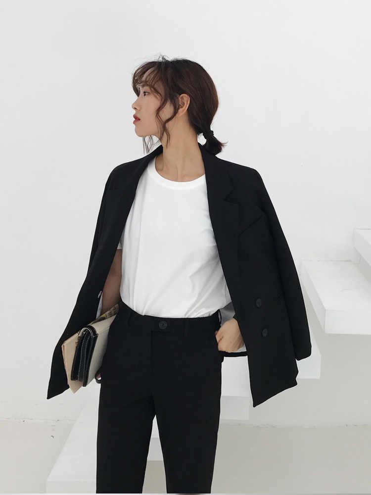 SMTHMA 2019 春の新作高品質の女性のノッチ襟ブレザージャケット + ツーピースカジュアル女性パンツスーツ
