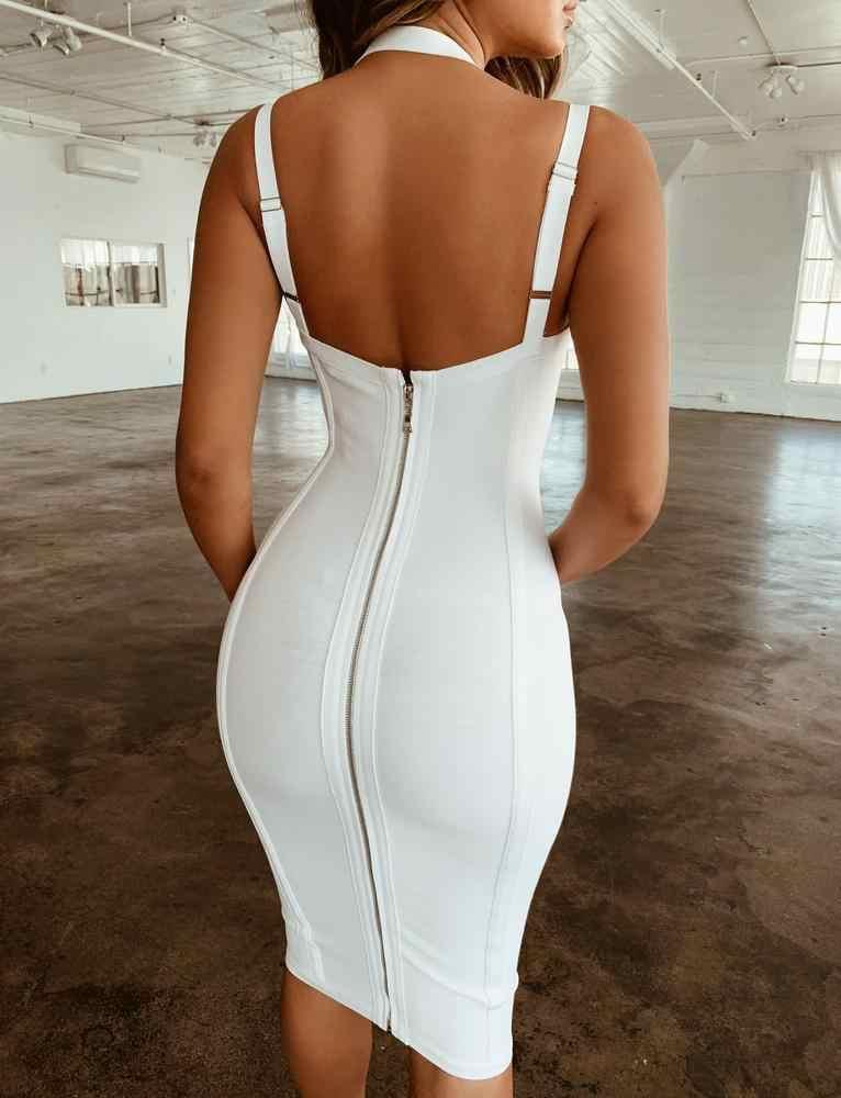 Бесплатная доставка летнее платье для женщин Sexy V образным вырезом спинки Белый Красное повязное платье 2019 дамы вечерние праздничное Vestido