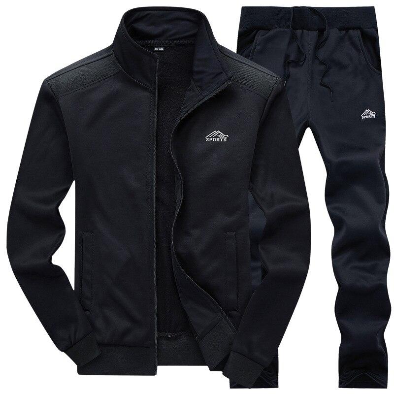 Casual Tracksuit Men Zipper Sweatshirt+Sweatpants 2 Pieces Set Men Fitness Men's Sportswear Autumn Spring Brand SportSuit Male