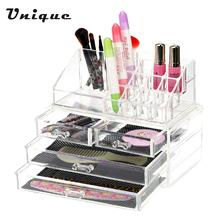 2 in 1 Makeup Cosmetic Storage Box Transparent Four Drawers