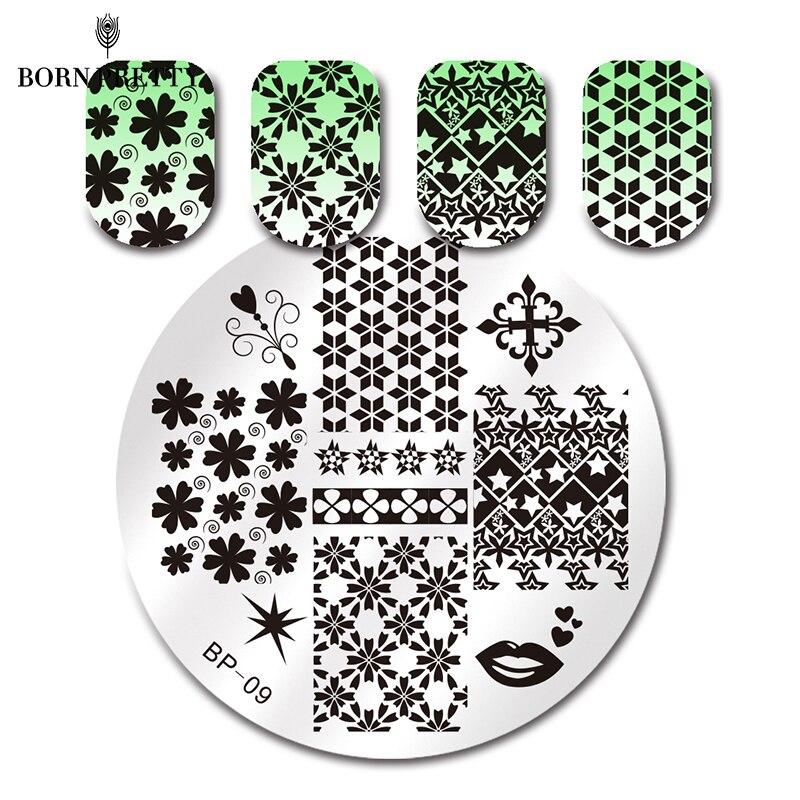 ΞBORN PRETTY mezclar patrones Nail Art sello plantilla estampación ...
