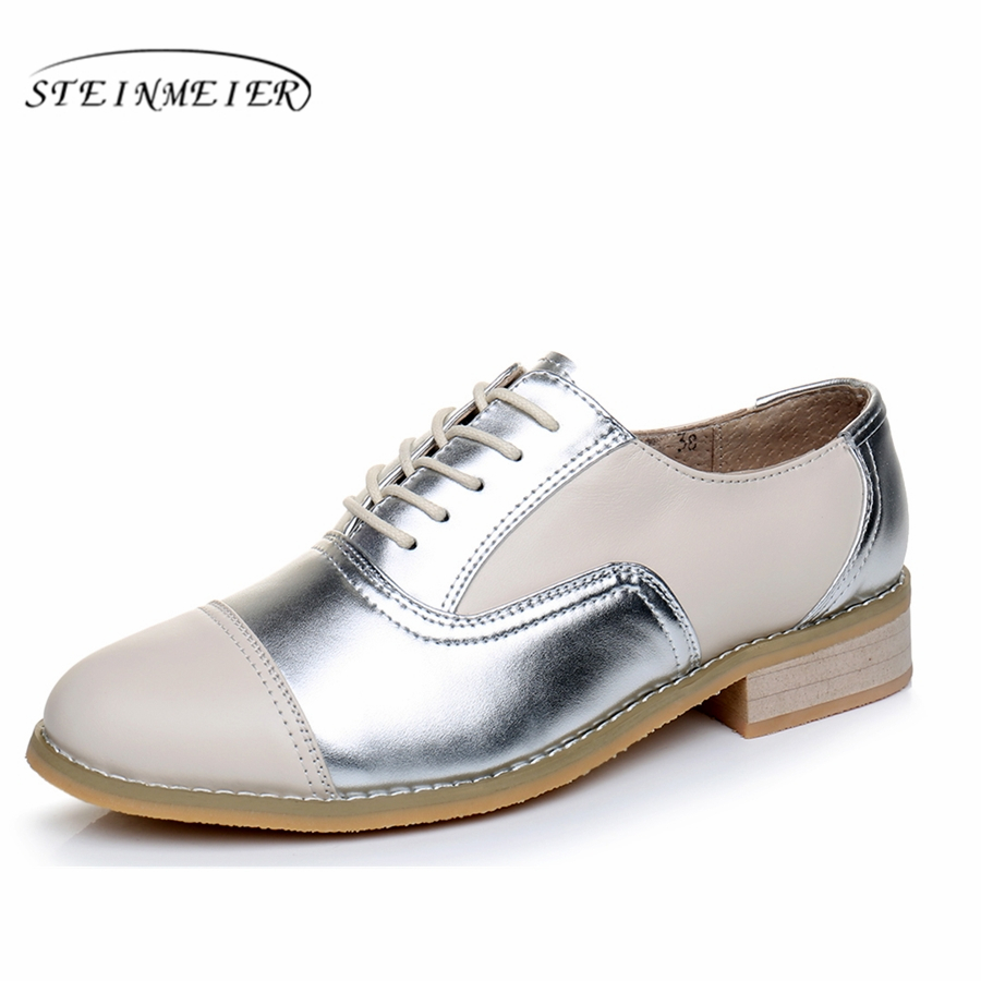 women leather flats woman vintage flat shoes round toe large size us11 handmade beige silver 2017 oxford shoes for women fur women ladies flats vintage pu leather loafers pointed toe silver metal design