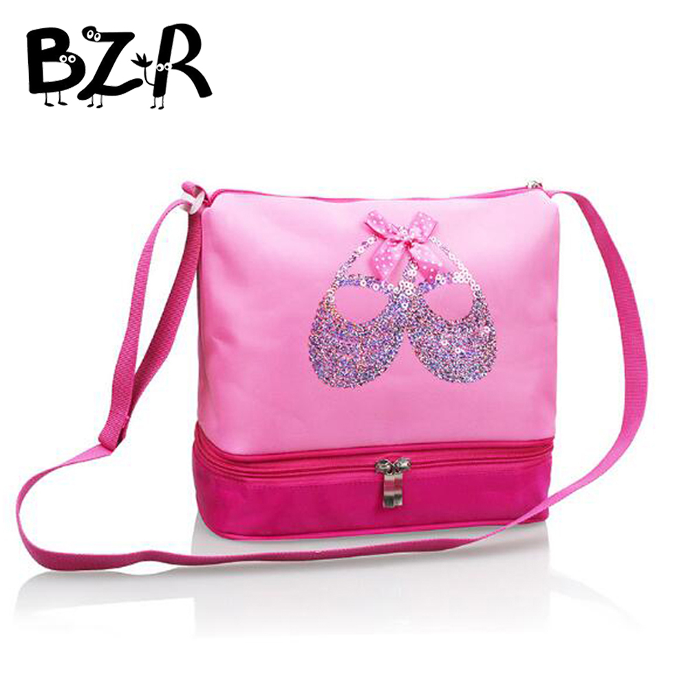 Bazzery Pink Canvas Ballet Dance Bags For Girl Sequins Ballet Shoes Ballerina Bag Kids Double Layers Crossbody Dancing Backpack