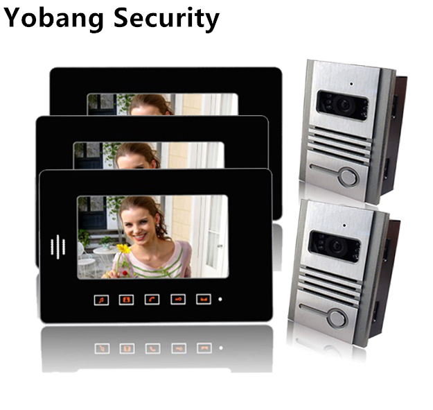 Yobang безопасности дома, домофон проводной 7 дюймов видеомонитор 2 Открытый Камера + 3 крытый монитор аудио и видео Видеодомофоны Системы