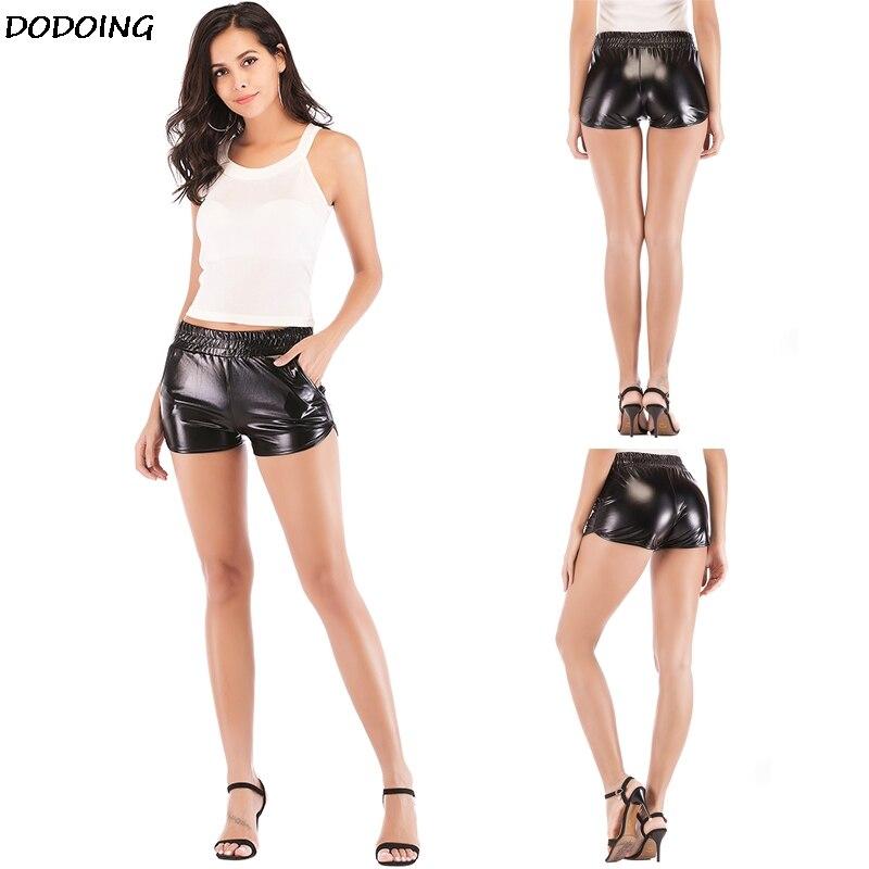 DODOING Women Fashion Patent Leather Shorts Sexy Casual Shiny Metallic Short Sport Dance Hot Short Elastic Waist Costume Clothes