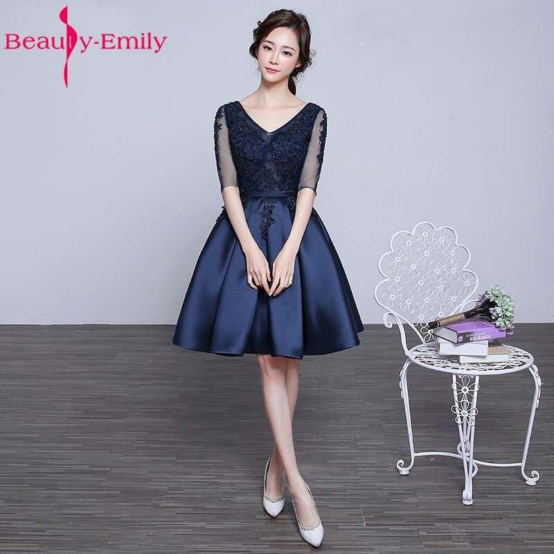 2017 Women Fashion Sexy V-neck Lace Satin Half Sleeves Short   Bridesmaid     Dress   Bride Banquet Elegant Party Formal   Dresses   Custom