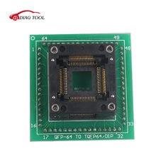 Adaptador de programação OTQ-64-0.8-01 qfp64 para tqfp64, adaptador de programação hc05 hc08 qfp64 dip32