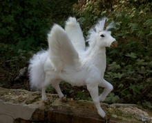 creative simulation wings unicorn toy resin&fur white unicorn doll gift about 32x34x26cm