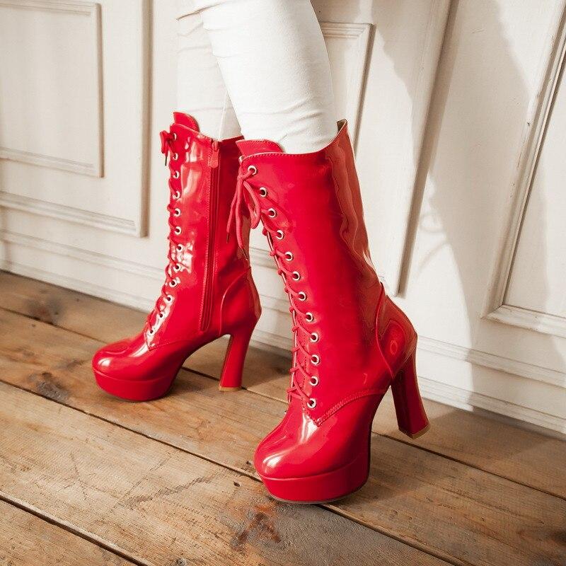 YMECHIC クロスネクタイ騎士ハイヒールミッドカーフブーツなくしオートバイブーツ女性パーティーナイトクラブのパテントレザーの冬の靴ビッグサイズ  グループ上の 靴 からの ミッドカーフブーツ の中 1