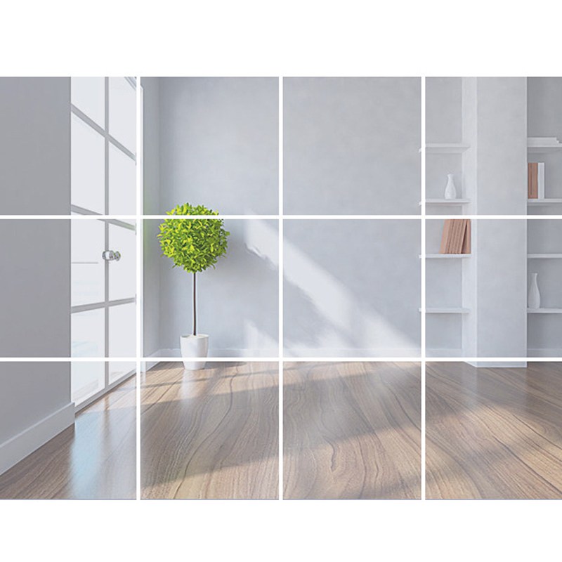 3D Glass Mirror Tiles Wall Sticker Square Self Adhesive Stick On DIY US