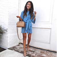 2018 Summer New Style Women Chiffon Dresses Loose Casual Blue Dress Flare Sleeve Dress