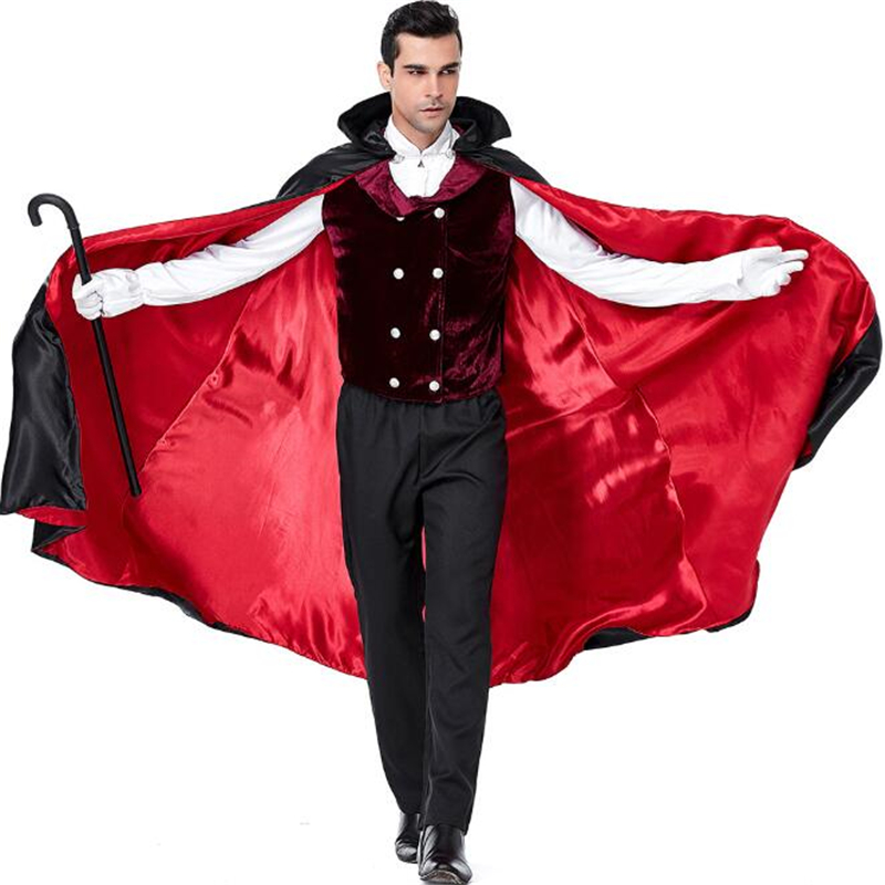 Deluxe Men's Vampire Count Costume Halloween Carnival Adult Performance Party Cosplay Clothing