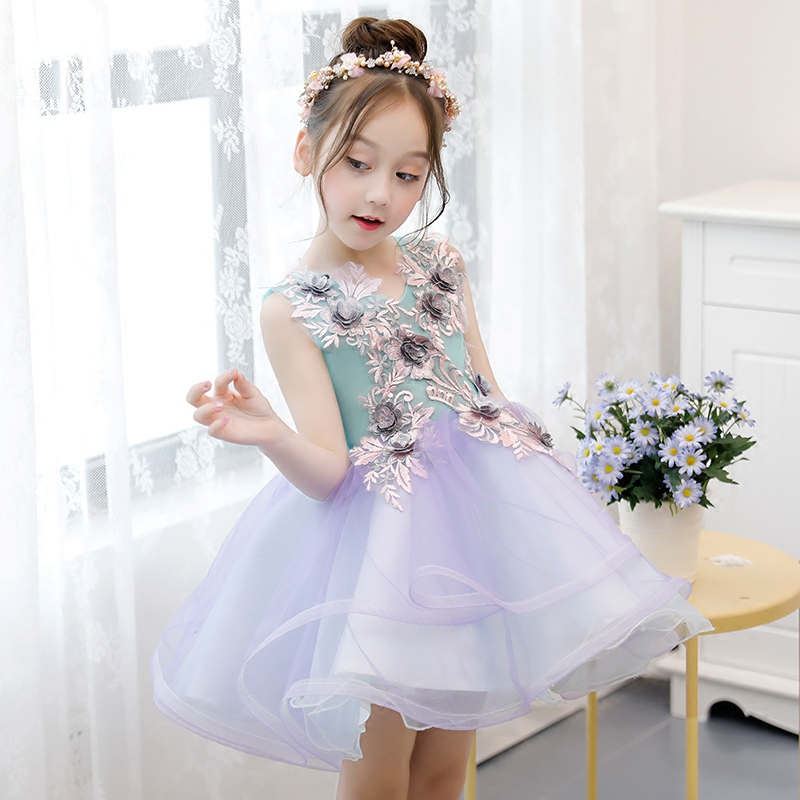 Babies Girls Cute Flowers Birthday Wedding Party Ball Gown Dress Kids Teens Evening Party Costume Tutu Mesh Short Dress 3~13yrs cute green princes puffy tutu dress children girls ball gown dress add multilayer flowers handmade tutu dress for wedding party