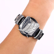 Attack on Titan Black Leather Bracelet