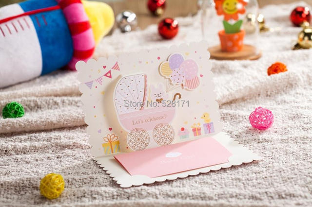 Free Shipping 6pcs Lot Lovely Invitation Cards 3D Cartoon Baby Shower Card First Birthday Favor