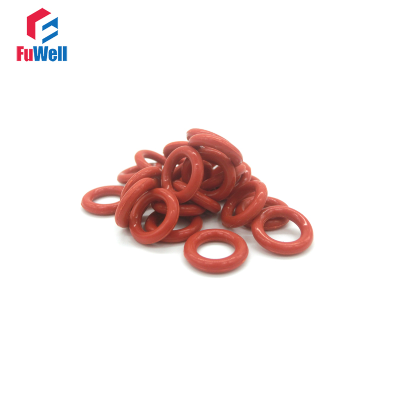 50pcs 2.4mm Thickness <font><b>O</b></font> <font><b>Ring</b></font> Seal Gasket Red Silicon <font><b>7mm</b></font>-35mm OD <font><b>O</b></font>-<font><b>ring</b></font> Seals 55Shore VMQ <font><b>O</b></font> Type <font><b>Ring</b></font> Sealing Gasket Gromment image